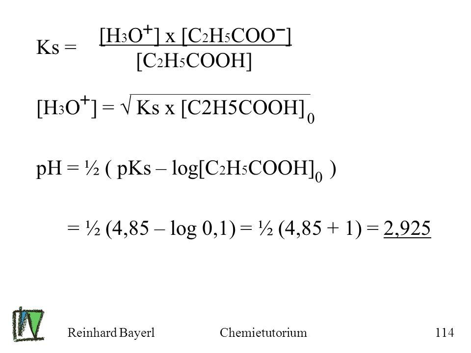 pH = ½ ( pKs – log[C2H5COOH] )